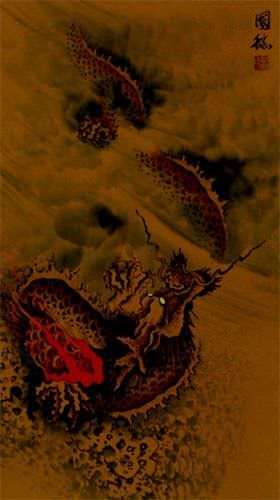 Hidden Chinese Dragon - Asian Wall Scroll close up view