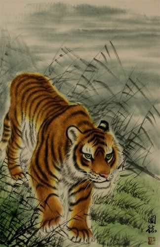 Prowling Chinese Tiger Wall Scroll close up view