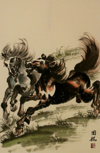 Two Galloping Horses Wall Scroll close up view