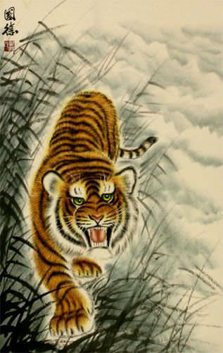 Antique-Style Prowling Chinese Tiger Wall Scroll close up view