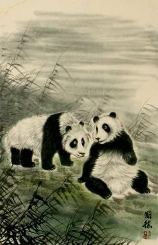 Pandas of China Wall Scroll close up view