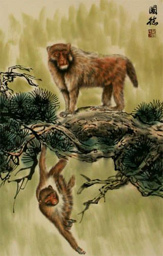 Monkeys on a Branch - Asian Wall Scroll close up view