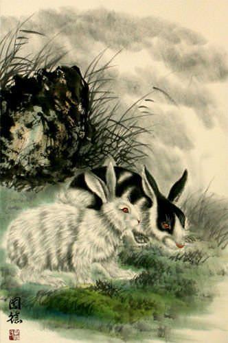 Rabbits - Asian Wall Scroll close up view