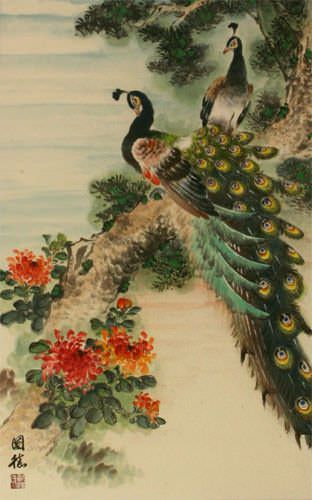 Peacocks and Chrysanthemum Flower Wall Scroll close up view