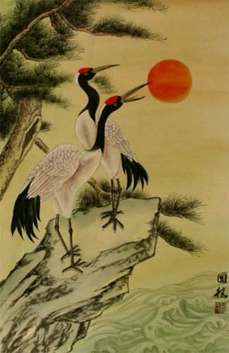 Antique-Style Chinese Cranes Wall Scroll close up view