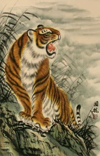 Roaring Chinese Tiger Wall Scroll close up view