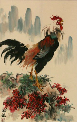 Chinese Farmyard Rooster Wall Scroll close up view