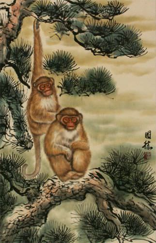 Pine Tree Monkeys - Asian Wall Scroll close up view