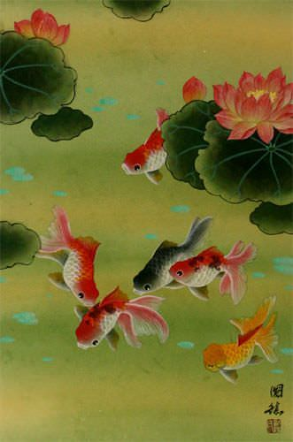 Gold Fish & Flowers - Chinese Wall Scroll close up view