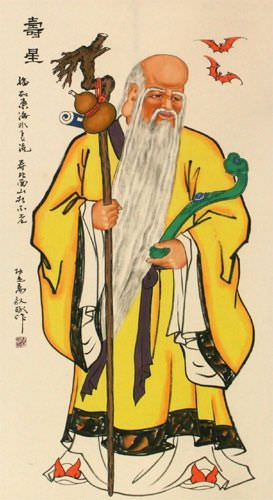 The God of Longevity - Chinese Wall Scroll close up view