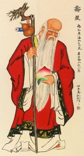 Longevity Saint - ChineseWall Scroll close up view