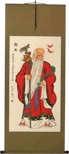 God of Longevity Wall Scroll close up view