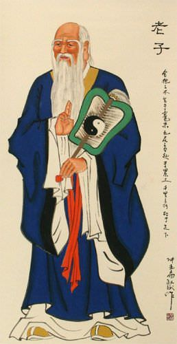 The Wise Lao Tzu / Laozi Wall Scroll close up view
