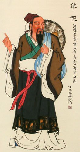 The First Physician of Ancient China - Wall Scroll close up view