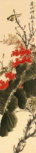 Golden Autumn Rhythm - Bird and Flower Wall Scroll close up view