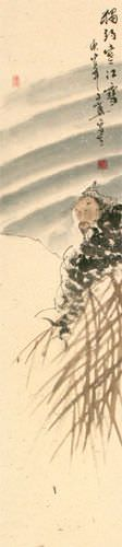 Lonely Old Man Fishing in Snowy River - Ancient Style Wall Scroll close up view
