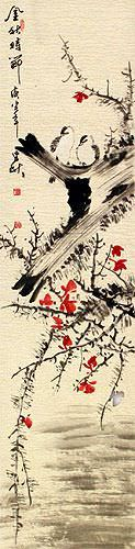 The Golden Autumn - Chinese Bird and Flower Wall Scroll close up view