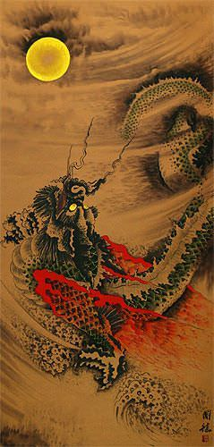 Flying Chinese Dragon - Oriental Wall Scroll close up view