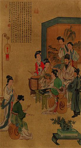 Musicians Gathering Partial-Print Wall Scroll close up view