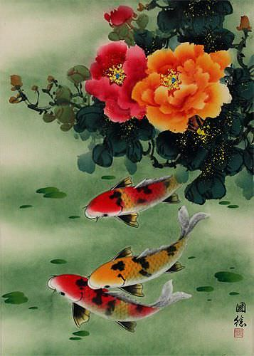 Koi Fish & Peony Flowers - Chinese Wall Scroll close up view