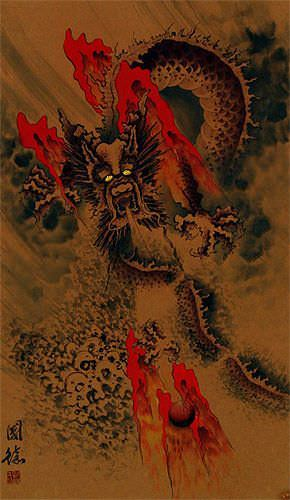 Big Dragon Wall Scroll close up view