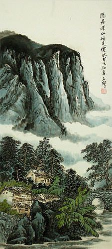 Chinese Landscape Wall Scroll close up view