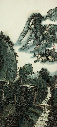 Chinese River Landscape Wall Scroll close up view