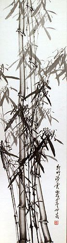 New Bamboo - Chinese Wall Scroll close up view