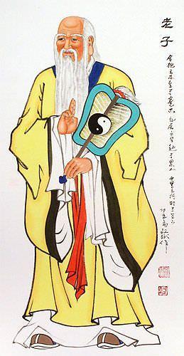 Wise Laozi / Lao Tzu Wall Scroll close up view
