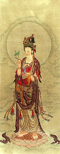 Kuan Yin Buddha - Partial-Print Wall Scroll close up view