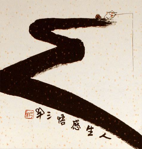 Gone Fishing for Life - Ancient Chinese Philosophy Wall Scroll close up view