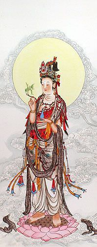 Guanyin Buddha Wall Scroll close up view