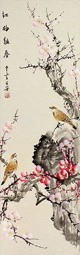 Chinese Birds and Plum Blossom Painting Wall Scroll close up view