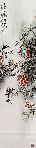 Birds and Flowers Wall Scroll close up view