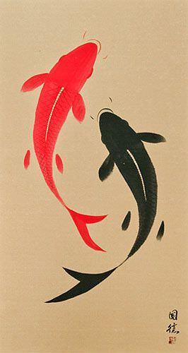 Yin Yang Fish - Jumbo-Size Wall Scroll close up view