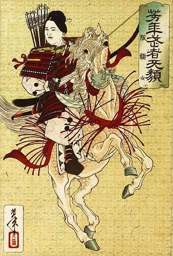 Female Samurai Hangaku - Japanese Woodblock Print Repro - Wall Scroll close up view