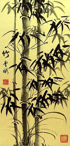 Black Ink Asian Bamboo Wall Scroll close up view