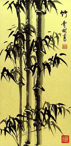 Chinese Freestyle Bamboo Wall Scroll close up view