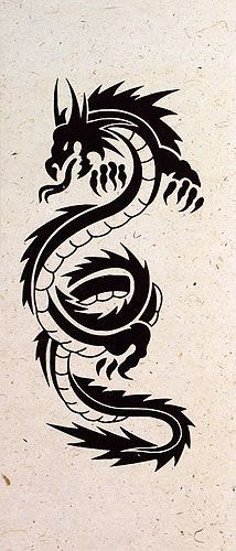 Black Dragon Print - Chinese Wall Scroll close up view