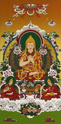 Tibetan Buddha Print - Wall Scroll close up view