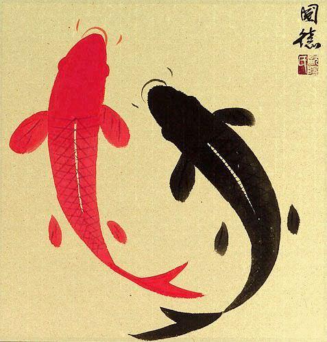 Classic Yin Yang Fish Silk Wall Scroll close up view
