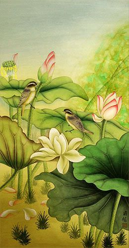 Little Birds and Beautiful Lotus Wall Scroll close up view