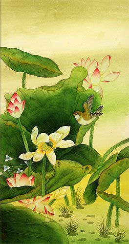 Chinese Birds and Lotus Wall Scroll close up view