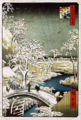 Snowy Bridge Landscape - Japanese Woodblock Print Repro - Wall Scroll close up view
