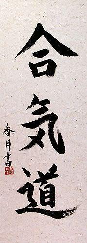 Aikido Japanese Kanji Wall Scroll close up view