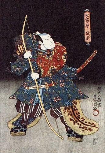 Samurai Saitogo Kunitake - Japanese Woodblock Print Repro - Wall Scroll close up view