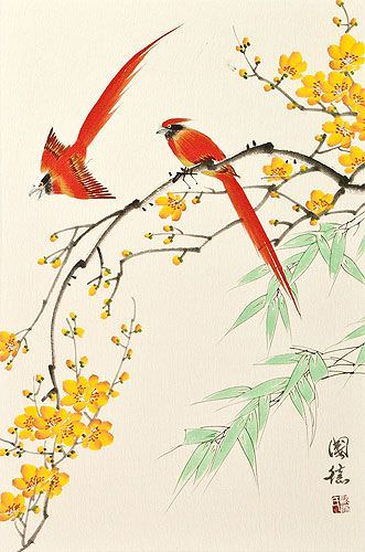 Bird and Flower Chinese Wall Scroll close up view