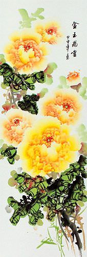 Yellow / Orange Peony Flowers Wall Scrolls close up view