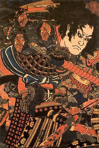 Japanese Samurai Actor Woodblock Print Wall Scroll close up view