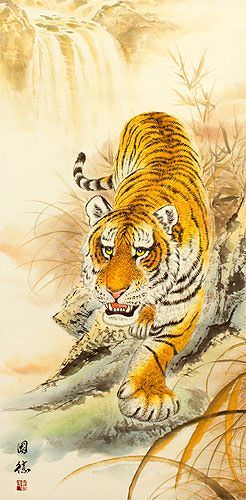 Classic Prowling Chinese Tiger Wall Scroll close up view